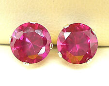 RUBY 925 STERLING SILVER STUD EARRINGS - ROUND 8mm created stone