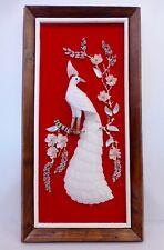 Vintage Mid Century 1950's Capiz Shell Art Peacock On Red Velvet Wall Hanging