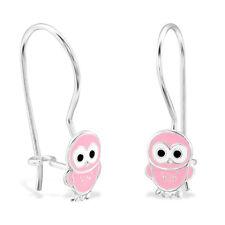 925 Sterling Silver Pink Owl Dangle Earrings Bird Girls Boxed Pair Dangly (W19)