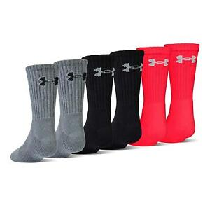 Under Armour Youth Charged Cotton 2.0 Crew Socks (6, Red/Assorted, Size 0.0 4iTW