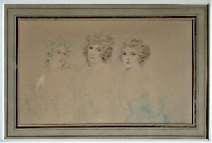 Original drawing by or after Richard Cosway, c1790, watercolour and pencil