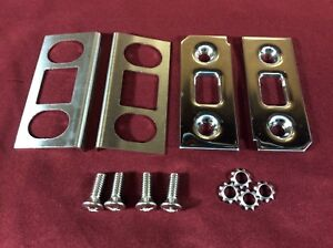 1969-1977 EARLY FORD BRONCO STAINLESS LIFTGATE LATCH STRIKER & SCUFF PLATE SET