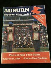 AUBURN FOOTBALL ILLUSTRATED Oct. 21, 1978 Georgia Tech Game