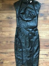 Women's Venus Faux Leather Midi Bodycon Dress, Black, Double Rear Zip, Size 2