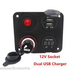 Dual USB Socket Voltmeter 12V Socket Switch 4 Hole Panel Marine Boat Car Truck