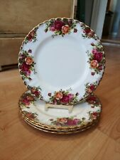 """Set of FOUR Royal Albert ENGLAND Old Country Roses 8 1/8"""" Salad Plates"""
