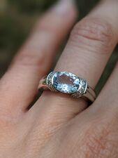 14K White Gold Aquamarine Ring Solitaire Halo Diamond Blue Size 6 7 6.5