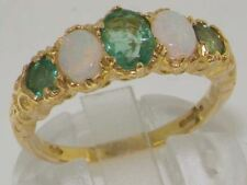 14K Oro Giallo LUSSO vivace Emerald e Opale Eternity Band Ring