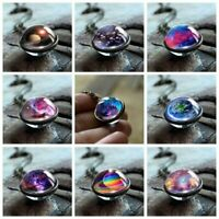Glow in the Dark Double Sided Galaxy System Glass Planet Necklace Pendant Women