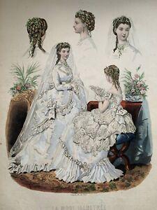 "Vintage LA MODE ILLUSTREE 1869 Fashion Plate 14 3/5""X101/4 -"