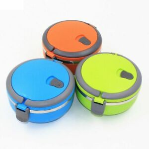 Stainless Steel Thermal Lunch Box For Kids Food Container Round Heat Thermos NEW
