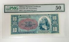 Series 591 $10 Military Payment Certificate FIRST PRINTING PMG AU 50 #MPC201