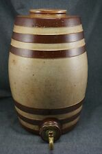 Brown Banded Salt Glazed STONEWARE WATER COOLER 2 Gallon with BRASS SPIGOT
