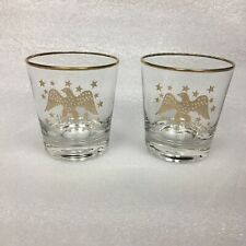 2 Vintage Gold American EAGLE & STAR Old Fashioned Rocks GLASSES Bar Whiskey