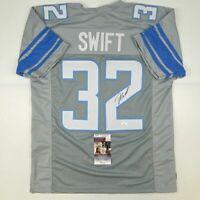 Autographed/Signed D'ANDRE SWIFT Detroit Grey Football Jersey JSA COA Auto
