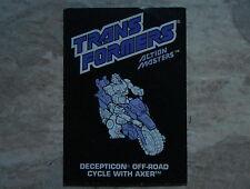 Transformers VINTAGE G1 1989 Axer Action Master Hasbro Instruction Book C-6 Cond