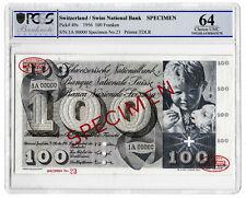 More details for 1956 switzerland swiss 100 franken banknote specimen p49s choice unc 64
