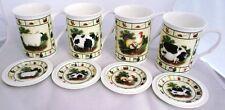 Farm Yard Mugs & Coasters Bone China Animals Set of 8 Pieces Hand Decorated UK
