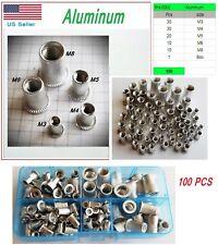 100 Pcs Metric Rivet Nut Insert Rivnut Aluminum Assort Kit M3 m4 M5 M6 M8