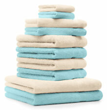 Betz lot de 10 serviettes Premium: turquoise & beige, 100% coton