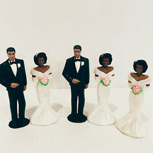 Vintage Mixed Lot Bride And Groom Cake Toppers African American Wedding Decor
