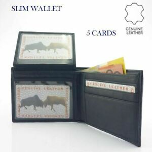 Men's Genuine Leather Slim Wallet Black 5 Cards New