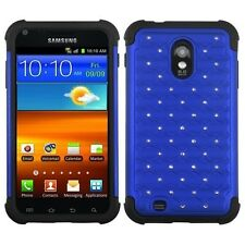 SAMSUNG GALAXY S2 EPIC TOUCH D710 STUDDED DIAMOND BLUE PC+BLACK RUBBER