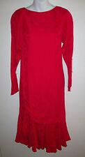 ARGENTI Vintage Silk Dress Asymmetrical Hem Ruched Sz 4 Jacquard Print ExUC!