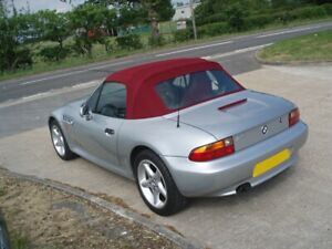 BMW Z3 - New Burgundy Mohair hood with Plastic rear screen