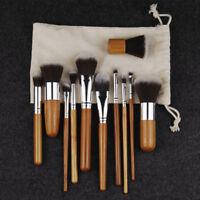11PCS Professional Bamboo Makeup Brushes Set Foundation Make Up Brush Tools Kit