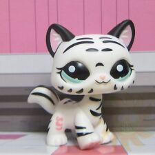 Littlest Pet Shop Animals Collection LPS Toys #1498 White Black Stripe Tiger Cat