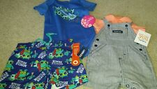 Baby Boy Lot 0-6 Month Old Navy Swim Trunks Carter's Overalls My Mommy Rocks NWT
