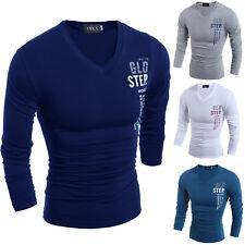 Mens Stylish Slim Fit Casual Fashion Long Sleeve T-shirt V-neck Shirt Tops Tee