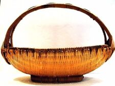 Vintage Two-Tone Woven Caning Caned Wicker Basket with Handle