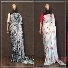 Floral Saree Sari Indian Japan satin silk Printed Designer Saree Party Wear Sari