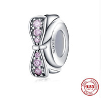 100% 925 Sterling Silver Spacer Beads Pink bow Flower Charm pandora