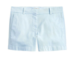 """J.Crew 4"""" Stretch Chino Shorts Womens Faded Chambray Blue Zipper Fly Bottoms"""