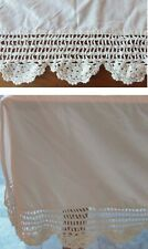 VINTAGE 80's Quaker Lace CROCHET Bed Skirt QUEEN DUST RUFFLE Shabby Chic IVORY