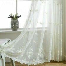 Embroidery Bead Voile Net Curtain Pelmets Tulle Window Panel Drape Sheer Flower