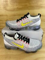 New Nike Air Vapormax Flyknit 3 White Dynamic Yellow AJ6900 103 Mens Size 9.5