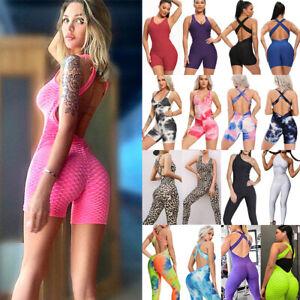 Women Sport Yoga Jumpsuit Pants Leggings Gym Workout Rompers Fitness Bodysuit AU