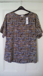 BNWT - Yours - Black mix patterned print blouse, short sleeve, size 16