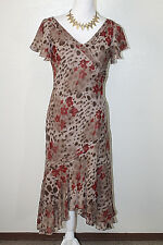 PAPELL for DRESSBARN Womens Sz 6 100% Silk FLoral Pleated Maxi Dress