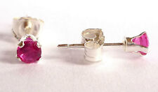 Ruby Solid 925 Sterling Silver Stud Earrings Round Red 3mm Created Stone Sk826