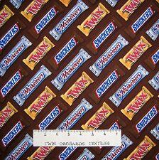 "Food Fabric - Chocolate Snickers Twix 3 Musketeers Stripe Brown - Springs 25"""