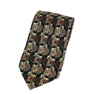 Frank Lloyd Wright Museum Gates Geometric Brown Gray Print Silk Neck Tie