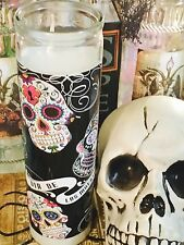 Dia de los muertos Day of the dead 8in white candle glass Sugar Skull Halloween