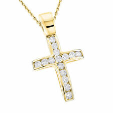 Pave 1 Cts Round Brilliant Cut Natural Diamonds Unisex Cross Pendant In 14K Gold