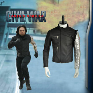 Captain America Civil War Winter Soldier Bucky Barnes Coat Cosplay Jacket Custom