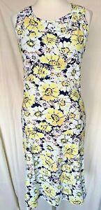 Adini 100% cotton printed slub jersey empire line sundress strap detail XS+2XL